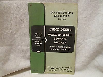 Vintage John Deere Operator's Manual Windrowers Power-Driven