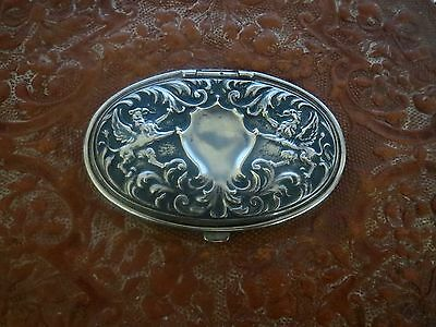 Exceptional Victorian STERLING SILVER SNUFF BOX & Leather - Antique Collar Box