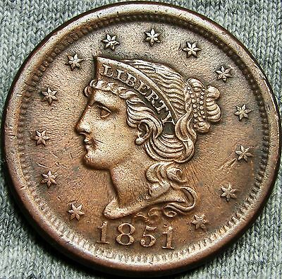 1851 Braided Hair Large Cent Penny ---NICE DETAILS  TYPE COIN --- #D902