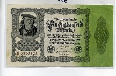 Germany 1922 50,000 Mark Currency Note Au