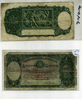 Australia 1938 One Pound Note Vg