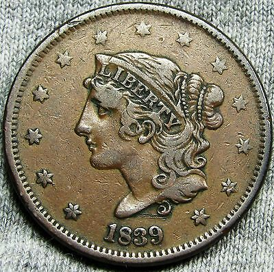 1839 Booby Head Coronet Large Cent Penny --- TYPE COIN --- #D897