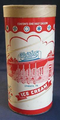 Vintage Cloister Dairies Ice Cream Container Can Box Ephrata Lancaster County Pa