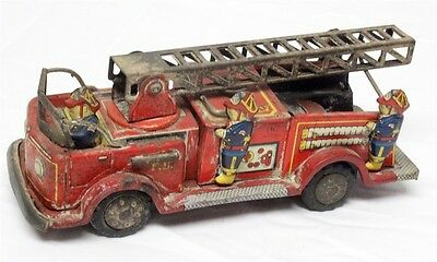 Vintage Tin Fire Truck - Japanese made, 1950's, friction motor