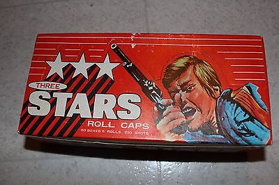 VINTAGE NEW STOCK THREE STARS Store Display Case 300 ROLLS CAPS in all 60 Boxes