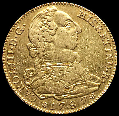 1787 DV Gold Spain 4 Escudos Charles III Coin Madrid Mint VF Condition