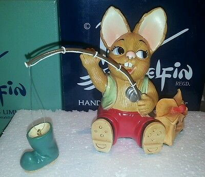 Pendelfin Bunny Rabbit Figurine - Rod Out For A Day Of Fishing A Boot - New