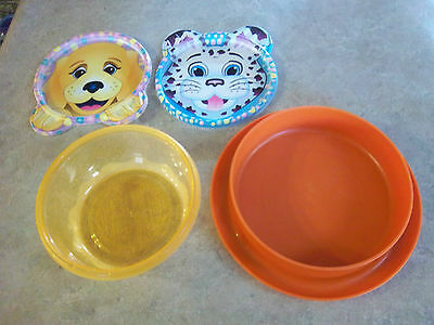 Tupperware Plate/Bowl and Cool Gear Bowl with 2 Lids...Kitty and Puppy
