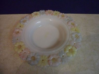 Antique Butter Dish Glass Bottom Cosmos Milk White by Consolidated