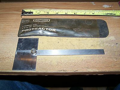 Machinist Tool Craftsman Protractor With Plastic Case
