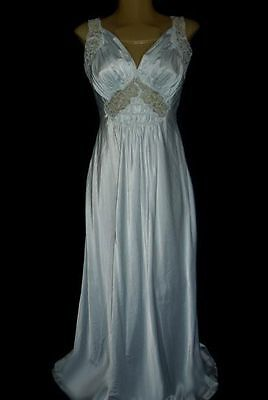 Vintage Stunning 20's-30's Shimmering Satin Bias Cut Lace Nightgown Mint