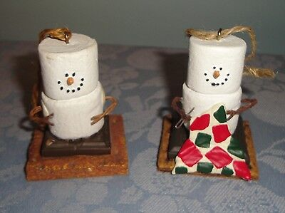 S'mores Smores Lot of 2 Ornaments Hiker and Quilter