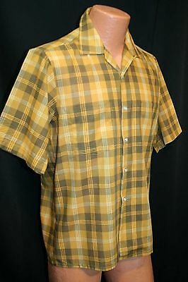 M Mens Penneys TOWNCRAFT Gold Brown Plaid Vtg 60s Loop S/S Rockabilly Shirt