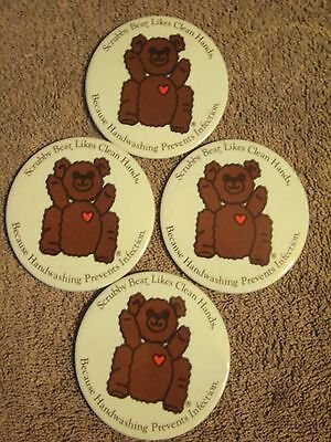 Scrubby Bear, Hand Washing Prevents Infections! 4 Large Size 3 Inch Buttons!