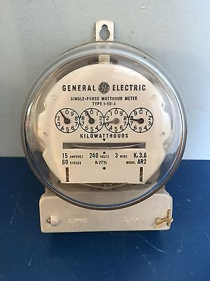 General Electric 15 Amp Single Phase Watthour Meter Model 1-50-A