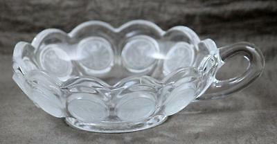 Coin Glass Candy Dish Fostoria Clear Crystal Handled Nappy VINTAGE