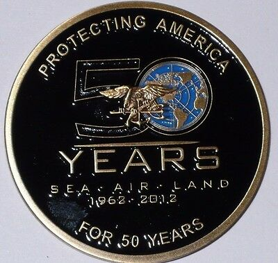 New Us Navy Seals 50 Year Anniversary Challenge Coin 1962-2012 Sea-Air-Land