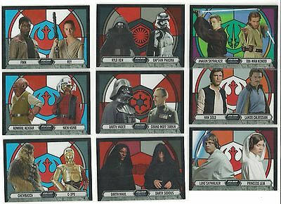 2016 Topps Star Wars Evolution Stained Glass Acetate Complete 9 Card Insert Set