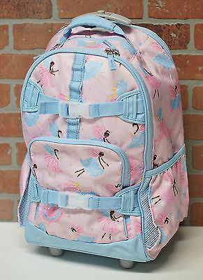 NEW Pottery Barn Kids PINK FAIRY Rolling Backpack PBK - mono removed