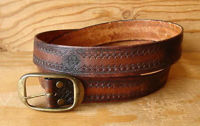 Vintage Hippie Tooled Brown Leather Belt w/Removable Buckle Size 46 -Made In USA