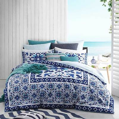 Logan and Mason CASPIAN TEAL Mosaic King Size Bed Doona Duvet Quilt Cover Set