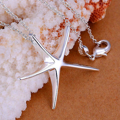 Fashion 925 Silver plated charms nice jewelry Starfish Beautiful women Necklace