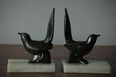 Pair Of Antique French Bird On Marble Bookends