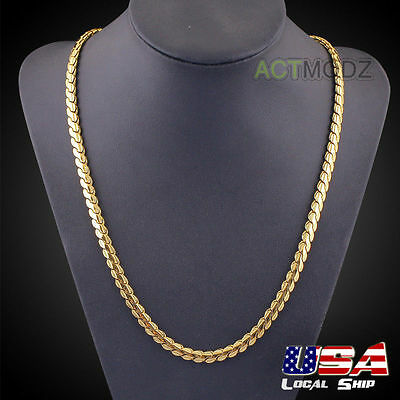 5mm 24Inch 18k Yellow Gold Plated Snake Chain Necklace Hip-Hop Style Men Jewelry