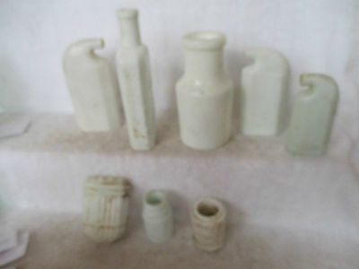 8 Milk Glass Bottles
