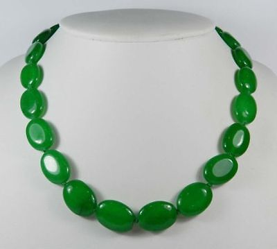 """13x18mm Green Emerald Gemstones Oval Beads Necklace 18"""""""