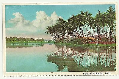 Vintage unposted postcard Lake of Colombo India, should be Sri Lanka?  (57)