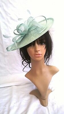 NEW AQUA SINAMAY & FEATHER FASCINATOR HAT.Shaped saucer disc,Wedding..races