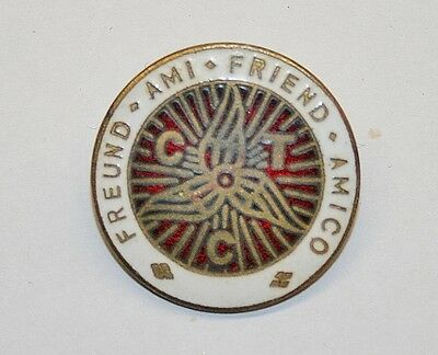 "Vintage CTC ""Cyclists Touring Club Friend"" Brass & Enamel Pin Badge"