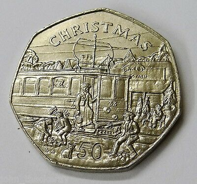 "1989 Isle of Man 50p Fifty Pence Electric Tram Car  ""Rare"""