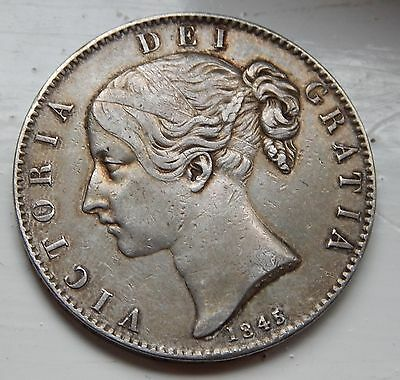 Crown Victoria Young Head 1845 gVF Ciniquefoil Stops .925 Silver