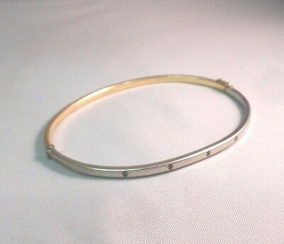 Ladies 9Ct Yellow & White Gold Bangle With Sparkly Stones Stunning