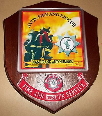 Avon Fire and Rescue  wall plaque personalised free of charge.