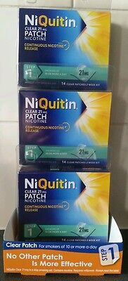 NiQuitin Clear 21mg Patch  step 1  Patches New 3 x 14 patches, 6 weeks suply