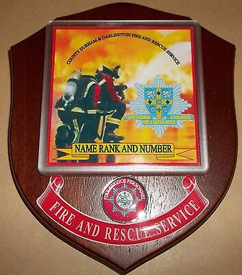 County Durham & Darlington Fire and Rescue Service wall plaque personalised free