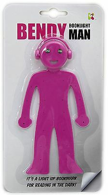 Bendy Booklight LED Light Up Bookmark Man Phone Stand Gift For Reader ~ Pink