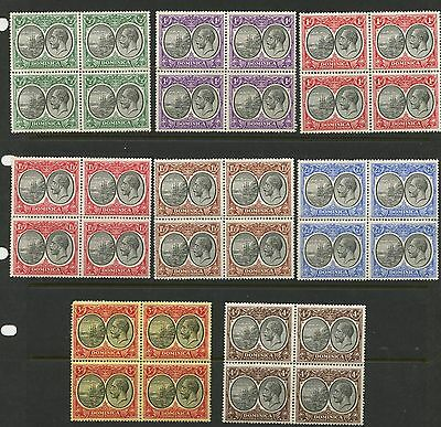 Dominica 1923 KGV Blocks of 4 Sc#65-69,72,74,75 mlh