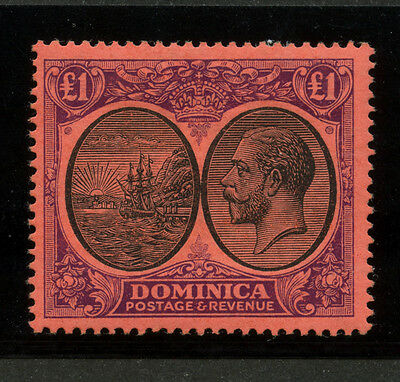 Dominica 1923 KGV 1 pound violet & black on red Sc #85 VF mlhr