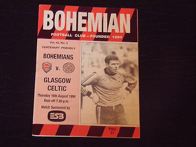 Bohemians V Celtic 90/91 Centenary Friendly Programme.