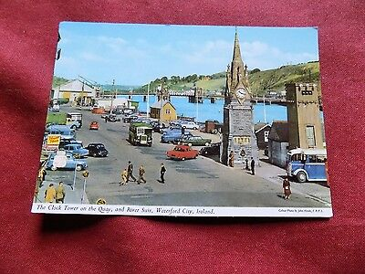 VINTAGE IRELAND: WATERFORD Clock Tower and quay colour HINDE CAR BUS