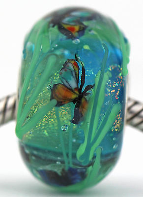 HIDE AND SEEK BUTTERFLIES FOCAL sterling silver charm glass bead lampwork MWR
