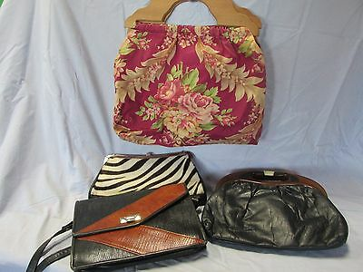 Vintage Purse Collection Of 4 / Leather, Bark Cloth, And Zebra Print