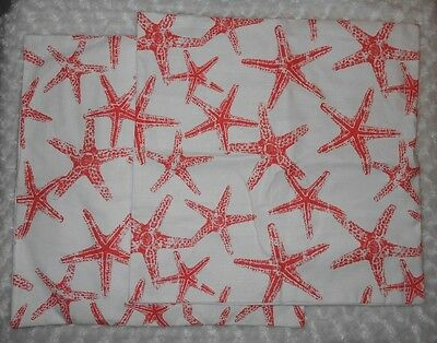 "New~Handmade TWO Matching Pillow Covers Coral Starfish ~17.5"" x 17.5"" inches~NEW"