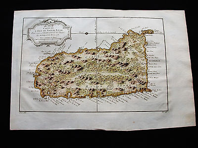 1754 BELLIN - Original map of CARIBBEAN, CENTRAL AMERICA, St. LUCIA, ANTILLES...