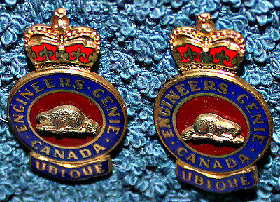 Used  Pair  Canadian  Forces Engineer's   Collar Badges MM