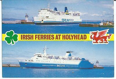 Colour Postcard of Irish Ferries at Holyhead